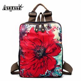 AEQUEEN Women Backpack Laptop Schoolbag For Teenage Girls Shoulder Bags  Vintage Flowers Print Backpacks Female Feminina 5b5a1667de