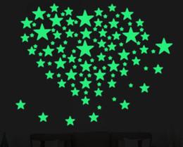 grandi sacchetti di santa all'ingrosso Sconti Stelle 3D Adesivi murali luminosi glow in the dark per Kids Room Home Decor Decal Wall Decorativo speciale Festivel 100 pezzi / set
