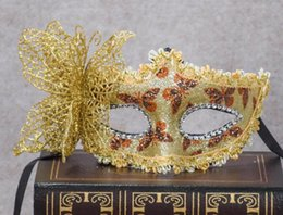 Wholesale Mask Painting Butterfly - Halloween Party Princess mask Venice cloth painted eye flower butterfly party