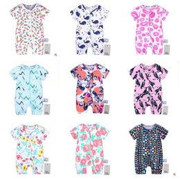 Wholesale todder boys - Boys Girls Romper Fashion Cartoon Baby Clothes Newborn Zipper Rompers Baby Short Sleeve Overalls Todder Pajamas Clothes Kids Clothing