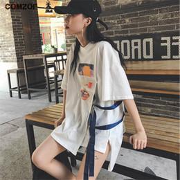 Punky flojo t shirt online-Harajuku mujeres moda hip hop camiseta floja de la cinta de verano coreano streetwear punk de gran tamaño tops grils ulzzang camiseta femme