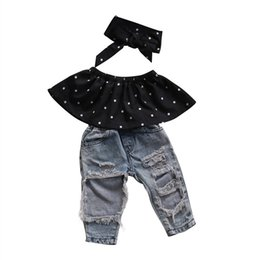 Wholesale Jeans Hole Boy - Fashion Kid Baby Girls Clothes Set 3pcs Dot Wrapped Chest Top Vest Ripped Hole Jeans Pants Headband Outfits Casual Clothing Sets