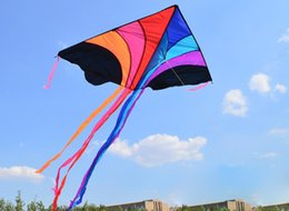 Wholesale Kite Line Stunt - Tide brand new fashion outdoor flying rainbow rainbow spell stunt kite speed delivery gift kite line