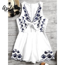 e1398192d7d4 20187 AZULINA Flower Patched Sleeveless Plunge Playsuit Women Rompers  Bowknot Patch Designs Short Jumpsuit Sexy Casual Girls Clothes