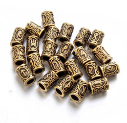 Wholesale Letter Beads Pendants - 24pcs Top Silver Norse Viking Runes Charms Beads Findings For Bracelets For Pendant Necklace For Beard Or Hair Vikings Rune Kits