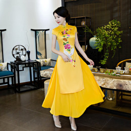 2018 chino rojo vestido tradicional de manga corta cheongsam amarillo vestidos de chino tradicional para mujeres sexo qipao casual desde fabricantes