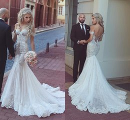 Sexy Off The Shoulder Mermaid Wedding Dresses Sweetheart Appliques Lace Tulle Corset Wedding Dresses Saudi Arabic Bridal Dresses Coupons