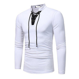 Wholesale Stand Up Collar Shirts - Men's Lace Up V Neck Slim Fit Long Sleeve Pullover T-Shirt