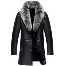 Меховые воротнички пальто мужчины 4xl онлайн-new high quality Men Fur  hair collar Thickening Leather Jacket Coat Casual  warm plus velvet size S M L XL 2XL 3XL 4XL