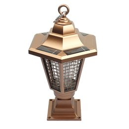 Wholesale portable mosquito - New golden LED Solar Light Mosquito Killer Lawn Lamp Bug Zapper Repellent Outdoor Continental Decorative Column lamp Fence pavilion hexagon