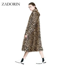 Wholesale Leopard Print Faux Fur Coats - Europe Fashion Women X-Long Faux Fur Leopard Coat Women Faux Fur Jacket Gilet Pelliccia Women Fur Coats veste fourrure S-3XL