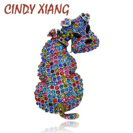 Wholesale Rhinestone Brooches For Dresses - CINDY XIANG New Rhinestone Cute Dog Brooches for Women Animal Large Brooch Pins Winter Dress Accessories Fashion Jewelry Gift