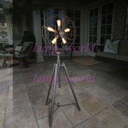 Wholesale Black Electric Fan - Floor Lamp Modern Individuality Electric Fan Retro Style Iron Floor Lamp Living Room Bedroom Photostudio Floor Light New