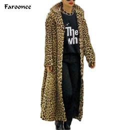 Wholesale leopard fur plus size - Faroonee 2017 Winter Warm Women's Faux Fur Coat Leopard Sexy Fur Coat Jacket V Neck Full Thicken Stylish Outwear Plus Size Q5003