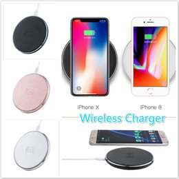 Wholesale Iphone Charger Aluminum - For iPhone X 8 Plus Aluminum Alloy Qi Wireless Charger Fast Quick Charging Pad LED Light Universal with Micro USB Cable Retail Box By DHL