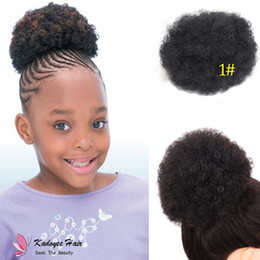 Wholesale brown tail - Synthetic afro chignon for kids small children girl JUMBO KINKY CURLY AFRO PUFF Magic Afro Pony tail for black girl USA UK