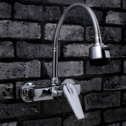 Wholesale Copper Wall Mount Faucets - Copper Wall Mounted Kitchen Mixer Bathroom Basin Faucet Hot Cold Water With 360 Swivel Spout