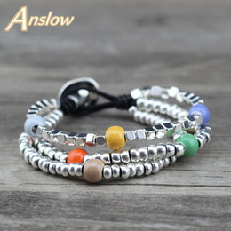 cute bracelet korean fashion Promo Codes - Anslow Brand Fashion Jewelry Cute Sweet Vintage Romantic Beads Handmade Leather Bracelet Korean Style Christmas Gift LOW0664LB