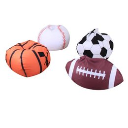 Wholesale Football Beds - 4 Colors 18 inch Football Basketball Baseball Storage Bean Bag Baby Stuffed Animal Plush Pouch Bag Organizer Beanbag CCA9413 10pcs