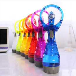 Wholesale water cooled air - Summer Portable Mini Hand Battery Power Mist Fan Air Water Bottle Cooling Handheld Spray Fans Novelty Items OOA4982