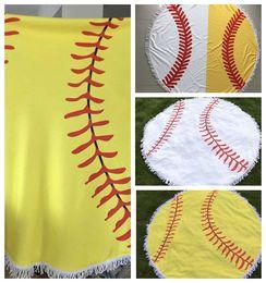 Wholesale round mattresses - diameter 150cm Baseball Softball Tapestry Beach Towel Round blanket with Tassel Beach Throw round Sports Yoga Mat KKA4274