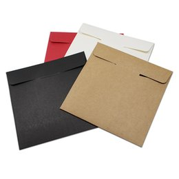 Wholesale Dvd Envelopes - DHL 200Pcs Lot 12.5*12.5cm High Quality Disc CD Sleeve 250gsm Party Kraft CD DVD Paper Bag Cover CD Package Envelopes Pack Boxes