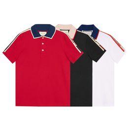 T-shirts rayés pour filles en Ligne-New fashion hommes marque LOGO polo t-shirt broderie col serpent classique t-shirt à manches courtes t-shirt G amateurs de rayures filles femmes hommes Tees