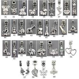 Wholesale Zodiac Bangle Bracelet - 30 Pieces lot zinc alloy Love Heart Mother daughter angel Pendants Fit pandora Charms Bead Bracelets&Bangles DIY Jewelry Making