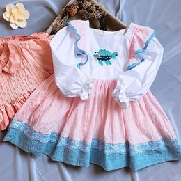 Wholesale embroidery fish - girls dresses long sleeve Spain style Round collar embroidery little Fish Patchwork princess dress girl's elegant soft girl dress