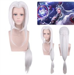 cosplay white straight long hair Promo Codes - King glory Ming Shi hidden soul robbery beauty tip cosplay wig silver white long straight hair