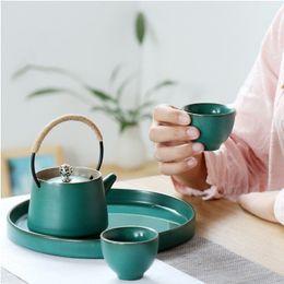Wholesale Ceramic Clay Pots - New Style Ceramic Kung Fu Tea Set Hand Made Crude Pottery Kettle Tea Pot Include 1 Pot 4Cup Chinese Retro Tea Service
