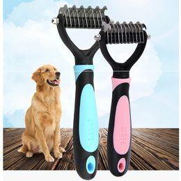 Argentina Fashion Dog Pet Blade Grooming Dematting Brush Pet Comb Trimmer Azul y Rosa Color Peine portátil Suministro