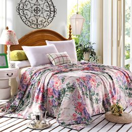 Wholesale Queen Floral Quilt - Wholesale- Floral print 50% natural silk Comforter summer handmade Duvet thin thick quilt winter Blankets