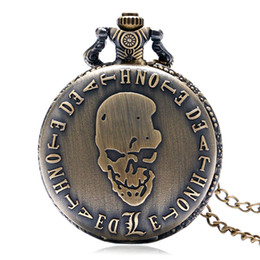 Wholesale Birthday Gift Watches For Women - Bronze Evil Skull Death Note Design Theme Fob Quartz Pocket Watch Full Hunter Necklace Pendant Best Xmas Birthday Gift for Men Women