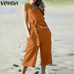Vonda mamelucos para mujer mono de verano de algodón sin mangas de la correa  ancha pantalones de pierna ancha traje casual LooseOveralls más tamaño 16fe46cb1889