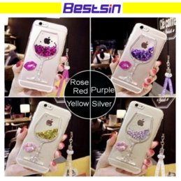 Wholesale Iphone Pattern Glass - Liquid Quicksand Bling Rhinestone Wine Glass Pattern Phone Case with Hang Rope For iPhone 7  7 Plus,  6 6s   6 6s Plus,Samsu