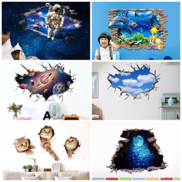 Wholesale planet green - Creative 3D Wall Sticker Decoration Stereo Planet Blue Sky And White Clouds Paster Space Astronaut Underwater World Stickers 5 6pc BW
