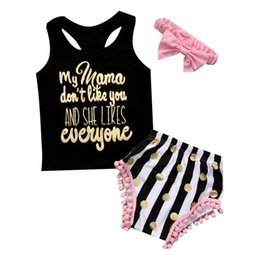 Wholesale 2t girls panties - 2018 Summer Baby girl Outfits Toddler Gold Letters Tank Tops + Tassels Striped Dots Shorts Panties+Headband 3pcs set Baby girls clothes