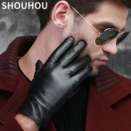 Wholesale Men S Fingerless Leather Gloves - SHOUHOU 2017 Men Winter Gloves Genuine Sheepskin Leather Male Gloves Fashion Touch Screen Men Christmas Gift Mittens