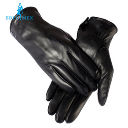 Wholesale Male Genuine Leather Gloves - warm winter mens gloves ,Genuine Leather,Black leather gloves,male leather gloves,winter gloves men, Free shipping