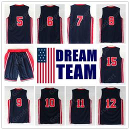 Wholesale Robinson Black - 1992 Dream Team Jersey Robinson Ewing Bird Pippen Drexler Malone STOCKTON JOHNSON SPORT SHORTS Michael Sport Basketball jerseys