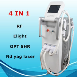 Wholesale elight rf - Professional Multifunction OPT SHR Elight Laser Hair Removal Q Switch Nd Yag Laser Tattoo Removal RF Skin Rejuvenation beauty equipment