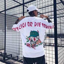 2018 Primavera Verano Hip Hop Camiseta de algodón Moda Money Skull Impresión Negro Blanco DJ Camisetas EE. UU. Tamaño S-XL Plain T-shirt desde fabricantes