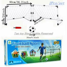 Wholesale Toys Gate - NEW Portable Children 2PC SET Football Soccer Goal Net With ball Pump Kids mini Football Gate Toy Sport