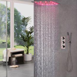 "Wholesale Shower Faucet Brass - Thermostatic Brass Black Faucets 16"" Rain Shower Head Shower Set Diverter Mixer Valve orb Bathroom LED Shower System"