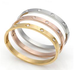 Koreanischen gold paar ring online-Edelstahl zehn Bohrer Vakuum 18 KK Gold Edition Korean Paar, Damen und Damen Schnalle Armband Ewigkeit Ring