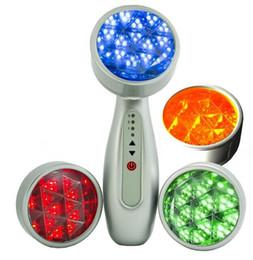 Máquina de arrugas de mano online-Handheld LED Facial Machine PDT fotón LED Light Therapy 4 colores rojo azul verde amarillo para el rejuvenecimiento de la piel Eliminación del acné Anti arrugas
