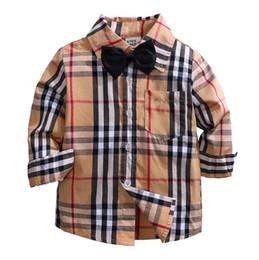 Meninos botão top on-line-Venda quente Xadrez Camisas Criança Criança Meninos Menina Botões de Manga Longa Bolso Tops Camisa Turn Down Collar Blusa Casual