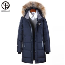 Wholesale Long Jackets Fur Hood Mens - Asesmay Mens Down Parka Goose Winter Down Coat Brand Geography Jacket Natural Raccoon Fur Hood Warm Winter Jacket 6XL Size