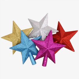 estrela do topper da árvore de natal Desconto 1 PCS Ouro Pó Estrela de Natal Venda Quente Novo Bonito 15 cm Árvore De Natal Toppers enfeites de árvore de Natal Xmas